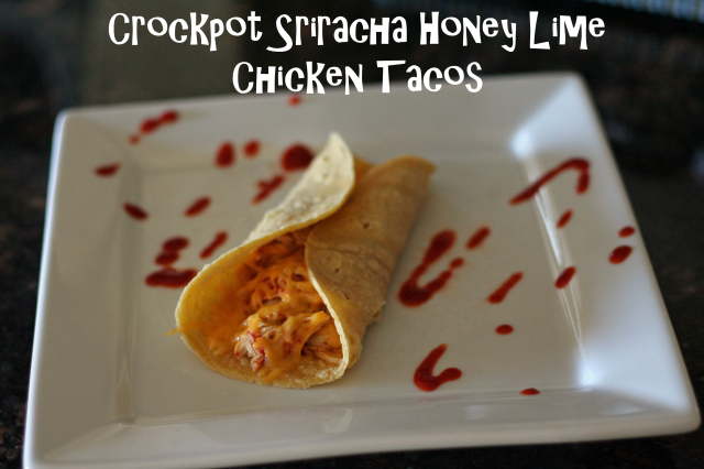 Crockpot sriracha honey lime chicken tacos are flavorful, healthy, and easy.  No artificial soup mixes or jarred salsas required. The filling is flavorful, but not too spicy.